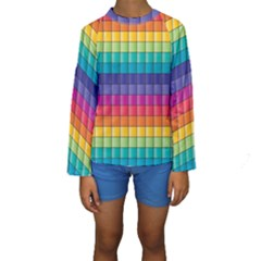 Pattern Grid Squares Texture Kids  Long Sleeve Swimwear