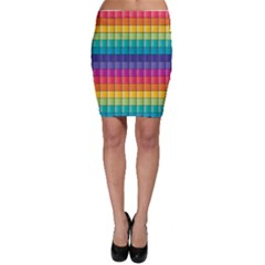 Pattern Grid Squares Texture Bodycon Skirt