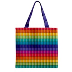 Pattern Grid Squares Texture Grocery Tote Bag