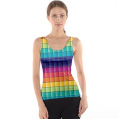Pattern Grid Squares Texture Tank Top
