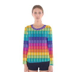 Pattern Grid Squares Texture Women s Long Sleeve Tee