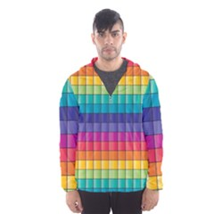 Pattern Grid Squares Texture Hooded Wind Breaker (men)