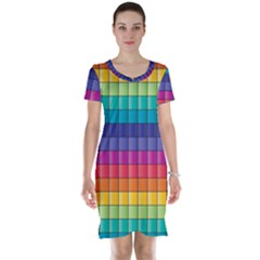Pattern Grid Squares Texture Short Sleeve Nightdress