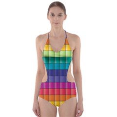 Pattern Grid Squares Texture Cut Out One Piece Swimsuit