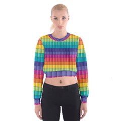 Pattern Grid Squares Texture Women s Cropped Sweatshirt