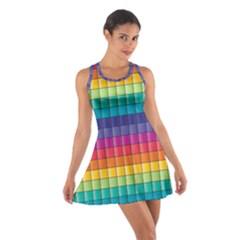 Pattern Grid Squares Texture Cotton Racerback Dress