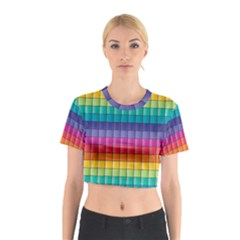 Pattern Grid Squares Texture Cotton Crop Top