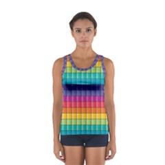 Pattern Grid Squares Texture Women s Sport Tank Top