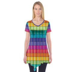 Pattern Grid Squares Texture Short Sleeve Tunic