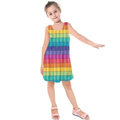 Pattern Grid Squares Texture Kids  Sleeveless Dress