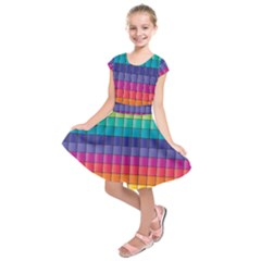 Pattern Grid Squares Texture Kids  Short Sleeve Dress