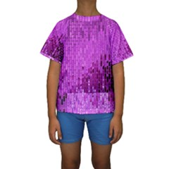 Purple Background Scrapbooking Paper Kids  Short Sleeve Swimwear