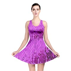Purple Background Scrapbooking Paper Reversible Skater Dress