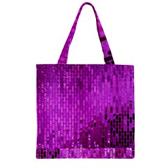 Purple Background Scrapbooking Paper Zipper Grocery Tote Bag