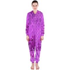Purple Background Scrapbooking Paper Hooded Jumpsuit (ladies)