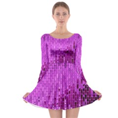Purple Background Scrapbooking Paper Long Sleeve Skater Dress