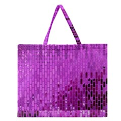 Purple Background Scrapbooking Paper Zipper Large Tote Bag