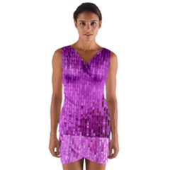 Purple Background Scrapbooking Paper Wrap Front Bodycon Dress