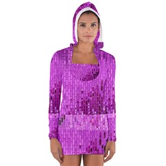 Purple Background Scrapbooking Paper Women s Long Sleeve Hooded T Shirt