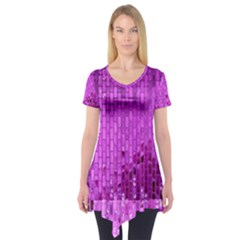 Purple Background Scrapbooking Paper Short Sleeve Tunic