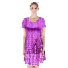 Purple Background Scrapbooking Paper Short Sleeve V-neck Flare Dress