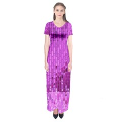Purple Background Scrapbooking Paper Short Sleeve Maxi Dress