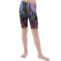 Downtown Chicago Kids  Mid Length Swim Shorts