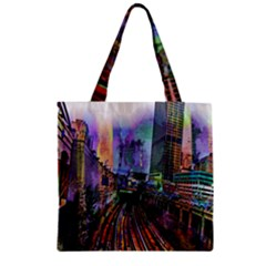 Downtown Chicago Zipper Grocery Tote Bag