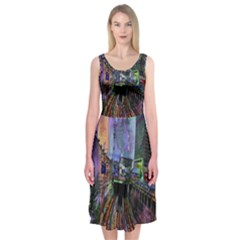 Downtown Chicago Midi Sleeveless Dress
