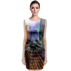 Downtown Chicago Classic Sleeveless Midi Dress