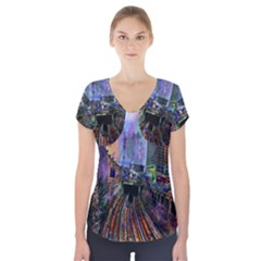 Downtown Chicago Short Sleeve Front Detail Top