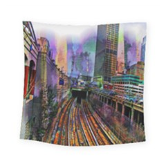 Downtown Chicago Square Tapestry (small)