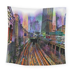 Downtown Chicago Square Tapestry (large)
