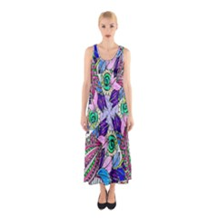 Wallpaper Created From Coloring Book Sleeveless Maxi Dress