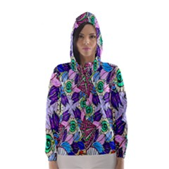 Wallpaper Created From Coloring Book Hooded Wind Breaker (Women)