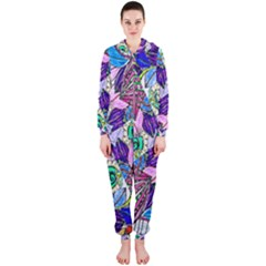 Wallpaper Created From Coloring Book Hooded Jumpsuit (ladies)