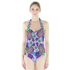 Wallpaper Created From Coloring Book Halter Swimsuit