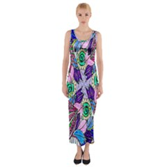 Wallpaper Created From Coloring Book Fitted Maxi Dress