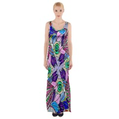 Wallpaper Created From Coloring Book Maxi Thigh Split Dress