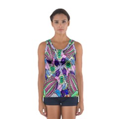 Wallpaper Created From Coloring Book Women s Sport Tank Top