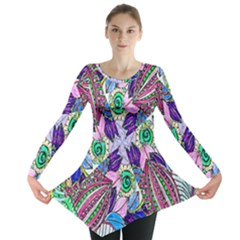 Wallpaper Created From Coloring Book Long Sleeve Tunic