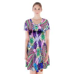Wallpaper Created From Coloring Book Short Sleeve V Neck Flare Dress