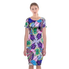 Wallpaper Created From Coloring Book Classic Short Sleeve Midi Dress