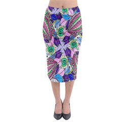 Wallpaper Created From Coloring Book Midi Pencil Skirt