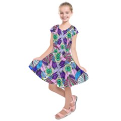 Wallpaper Created From Coloring Book Kids  Short Sleeve Dress