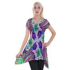 Wallpaper Created From Coloring Book Short Sleeve Side Drop Tunic