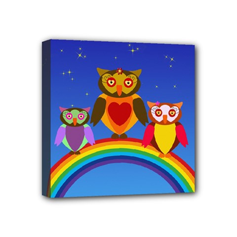 Owls Rainbow Animals Birds Nature Mini Canvas 4  X 4