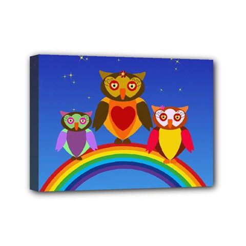 Owls Rainbow Animals Birds Nature Mini Canvas 7  X 5