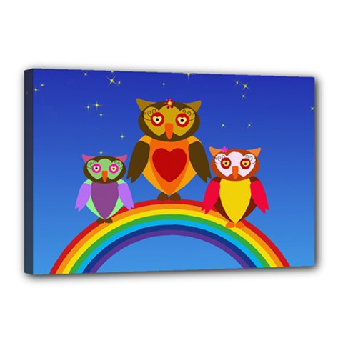 Owls Rainbow Animals Birds Nature Canvas 18  x 12