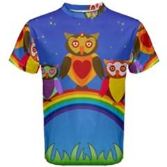 Owls Rainbow Animals Birds Nature Men s Cotton Tee